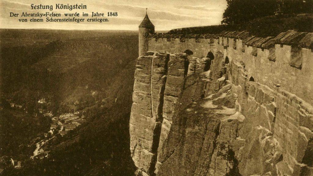 Die Postkarte aus dem Jahr 1907 zeigt den Abratzky-Felsen.