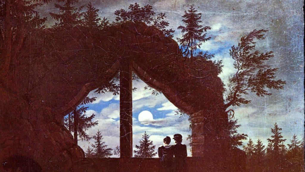 Die Ruinen im Mondscheint, dargestellt von Carl Gustav Carus im Jahr 1828