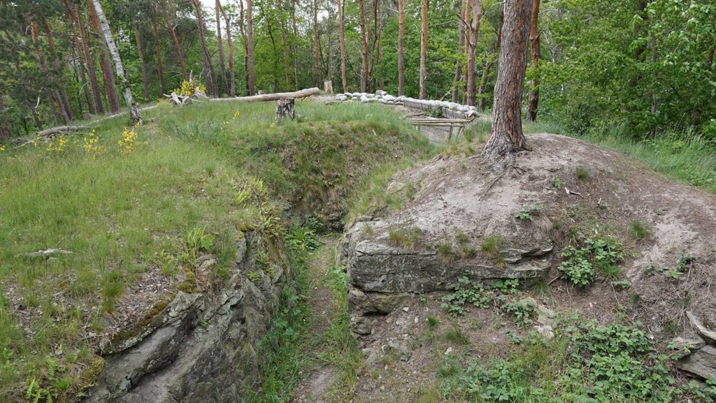 Wesentliche Teile der Schützengraben sind noch auffallend gut im Gelände erkennbar.