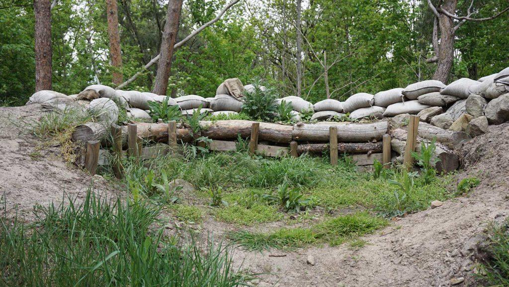 Durch den Bau eines Forstwegs wurde die Medingschanze geteilt und ist heute teilweise zugeschüttet.