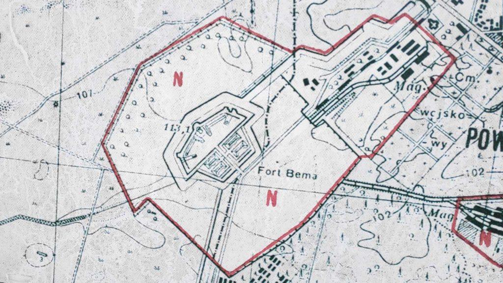 Auf einem historischen Kartenausschnitt ist das Fort Bema eingezeichnet.