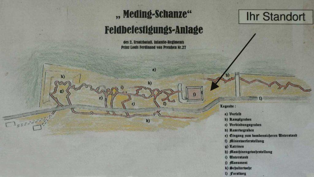 Auf einer Infotafel ist eine Skizze dargestellt, die die Medingschanze in Originalform zeigt. (Foto: Infotafel)